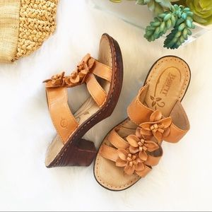Born leather heeled sandals with flowers